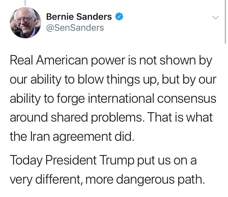 برنی سندرز: ترامپ ما را در مسیر خطرناکی قرار داد