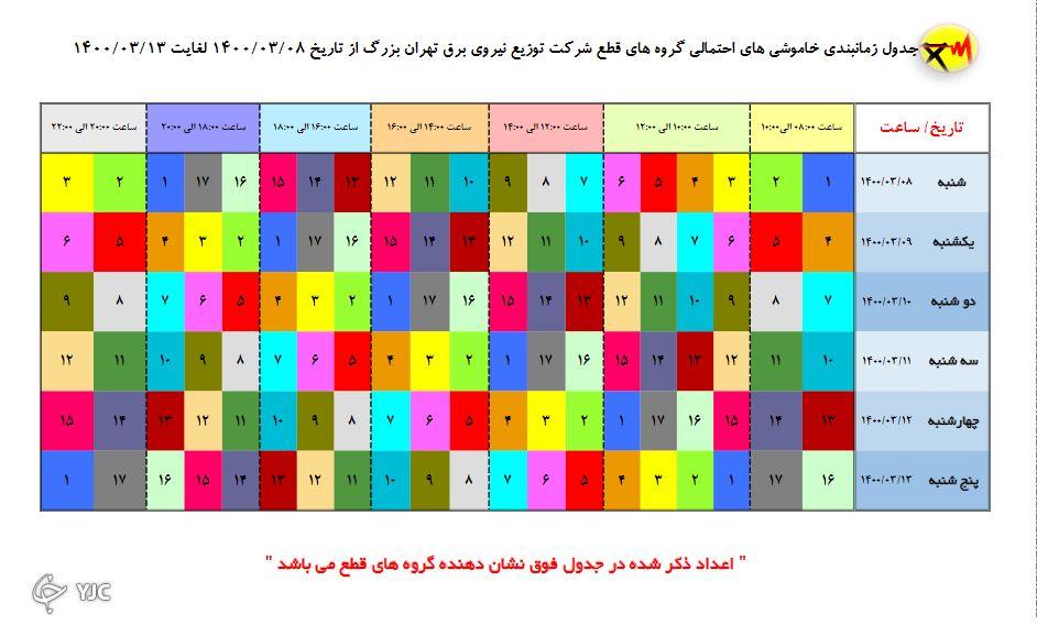 جدول خاموشیهای امروز تهران؛ زمانبندی قطع برق در مناطق مختلف پایتخت از ساعت ۱۸ تا ۲۰