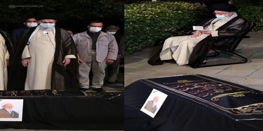 رهبر معظم انقلاب بر پیکر آیتالله حسنزاده آملی اقامه نماز کردند+عکس