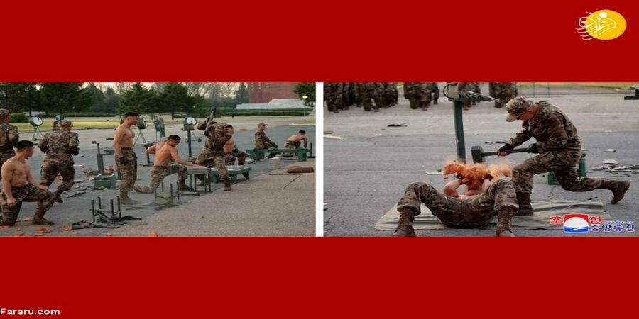 تمرینات عجیب نظامیان کره شمالی  در حضور کیم جونگ اون + عکس